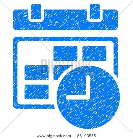 Grunge Date And Time icon with grunge design and dust texture. Unclean vector blue pictogram for rubber seal stamp imitations and watermarks. Draft emblem symbol.