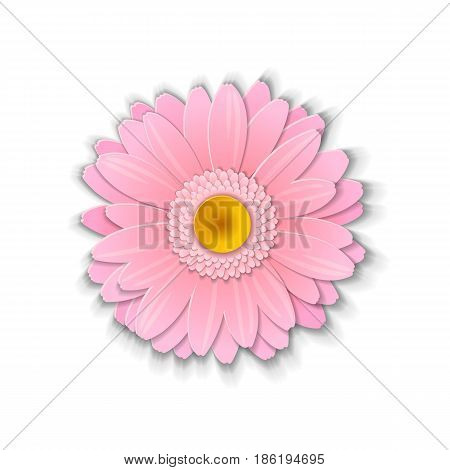 Cute pink gerbera flower in paper art style isolated on white background. Vector illustration.