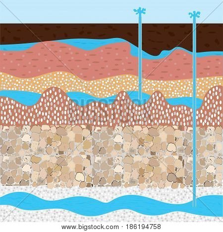 drilling rig andwater field soil layers vector illustration extraction of nature resources concept