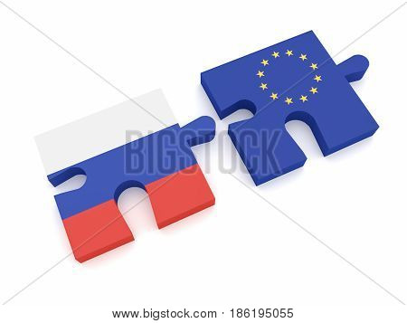 Russia European Union Partnership: Russian Flag And EU Flag Puzzle Pieces 3d illustration on white background