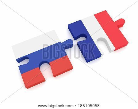 Russia France Partnership: Russian Flag And French Flag Puzzle Pieces 3d illustration on white background