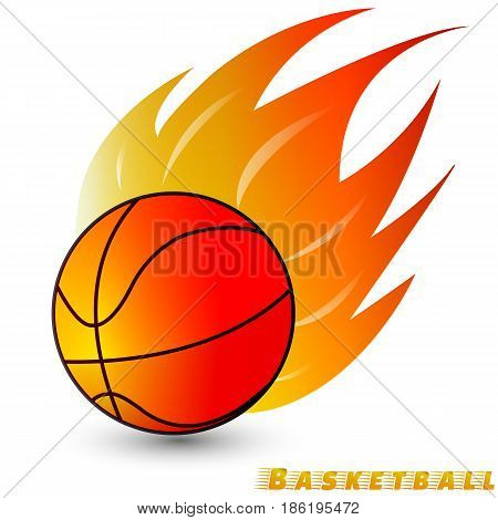 Basketball ball with red orange yellow tone fire in the white background. Logo of Basketball club. vector. illustration. basic red green blue. graphic design.