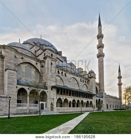 Exterior day angled shot of Suleymaniye Mosque an Ottoman imperial mosque located on the Third Hill of Istanbul Turkey and the second largest mosque in the city. built in 1557