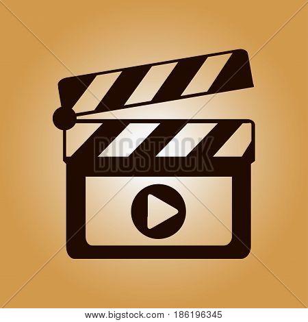 Film maker clapper board  icon. Flat design style.