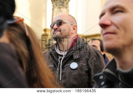 OLOMOUC, CZECH REPUBLIC - MAY 10: man in the crowd on demonstration against minister Andrej Babis and president Milos Zeman in Olomouc, Czech Republic, May 10, 2017