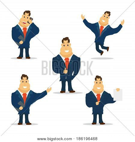 Businessman Cartoon Character in Blue Suit. Vector Illustration