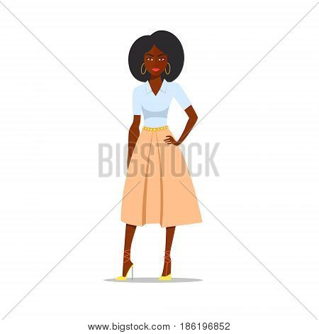 Cartoon African american woman with afro. Vector illustration