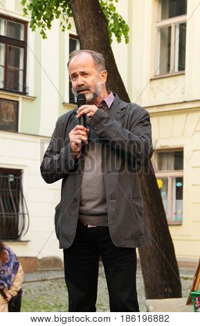 OLOMOUC, CZECH REPUBLIC - MAY 10: protester talking on demonstration against minister Andrej Babis and president Milos Zeman in Olomouc, Czech Republic, May 10, 2017