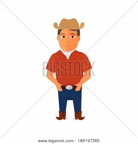Cartoon Cowboy character on white background. Vector illustration