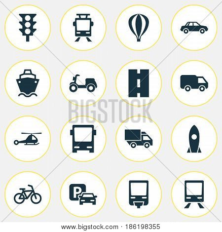 Shipment Icons Set. Collection Of Skooter, Way, Chopper And Other Elements. Also Includes Symbols Such As Auto, Air, Stoplight.