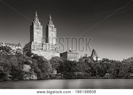 Sunrise on Upper West Side buildings and Central Park Lake (Black & White). Manhattan New York City