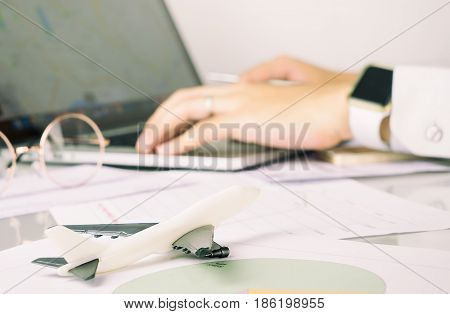 Aviation business manangement level working in office