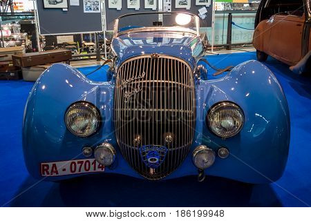 STUTTGART GERMANY - MARCH 02 2017: Sports car Peugeot 402 Darl'mat Special Sport Roadster 1937. Europe's greatest classic car exhibition