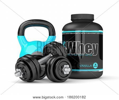 3D Render Of Whey Proteins With Dumbbells And Kettlebells