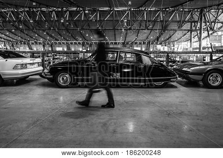 STUTTGART GERMANY - MARCH 02 2017: Mid-size luxury car Citroen DS23 Pallas 1973. Black and white. Europe's greatest classic car exhibition