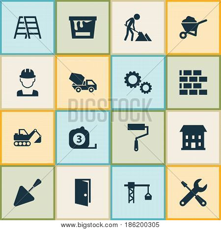 Industry Icons Set. Collection Of Maintenance, Service, Stair And Other Elements. Also Includes Symbols Such As Gear, Brickwork, Tools.