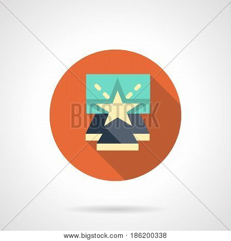 Symbol of entertainment show. Blue stage podium with beige star. Concerts, party, music festival and other events. Round flat design vector icon.