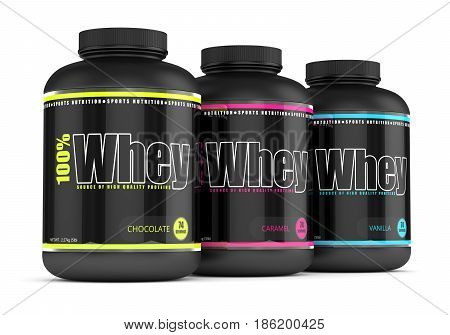 3D Render Of Whey Proteins In Containers Over White