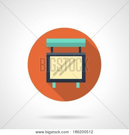 Symbol of empty events board. Place for announcements, advertising, concert information. Round flat design vector icon.