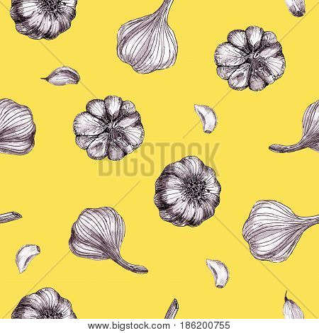 Seamless pattern with garlic on ocher yellow background colored hand-drawn sketch.