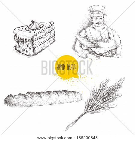 Hand drawn set bakery illustrations. Baker with baker basket of fresh bread fresh baguette cream cake and wheat bunch. Vector illustration isolated on white background.