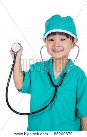 Asian Little Chinese Girl Playing Doctor With A Stethoscope
