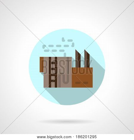 Symbol of refinery storage. Industrial building and facility concept. Round flat design vector icon.