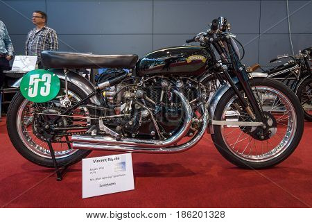 STUTTGART GERMANY - MARCH 02 2017: Sports motorcycle Vincent Rapide with