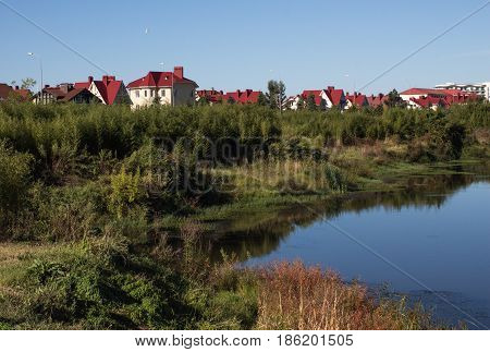 A view of the cottages with red roofs in Sochi Krasnodar Territory Russia