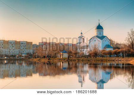 St. Alexander Nevsky Church in Gomel, Homiel Belarus. Orthodox Church At Sunset Or Sunrise In Autumn Season