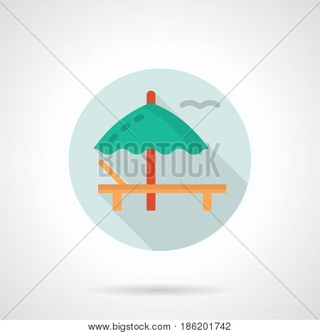 Summertime leisure symbol. Wooden deckchair with green umbrella. Round flat design vector icon.