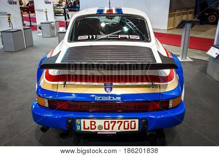STUTTGART GERMANY - MARCH 02 2017: Racing car Porsche 911 by Crossroad Solutions 1984. Rear view. Europe's greatest classic car exhibition
