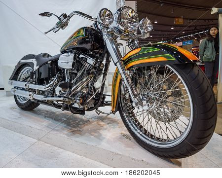 STUTTGART GERMANY - MARCH 02 2017: Classic motorcycle Harley-Davidson. Europe's greatest classic car exhibition