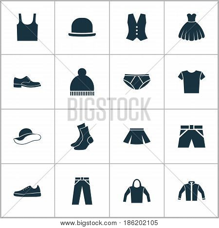 Garment Icons Set. Collection Of Cardigan, Half-Hose, Singlet And Other Elements. Also Includes Symbols Such As Socks, Waistcoat, Hat.