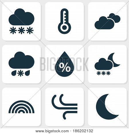 Nature Icons Set. Collection Of Night, Moisture, Breeze And Other Elements. Also Includes Symbols Such As Thermometer, Snowy, Hot.