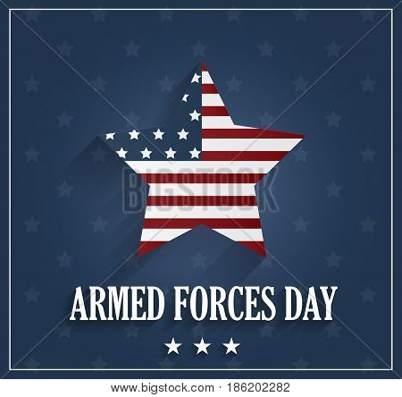 Armed Forces Day on blue background with striped star. Vector illustration.