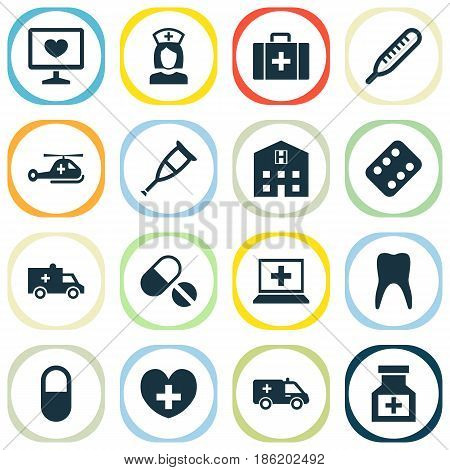 Drug Icons Set. Collection Of Bus, Retreat, Diagnosis And Other Elements. Also Includes Symbols Such As Ambulance, Pharmaceutical, Teeth.