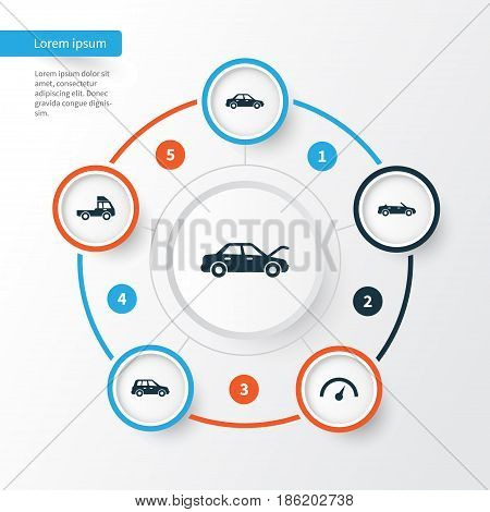 Car Icons Set. Collection Of Fixing, Chronometer, Automobile And Other Elements. Also Includes Symbols Such As Car, Van, Automobile.