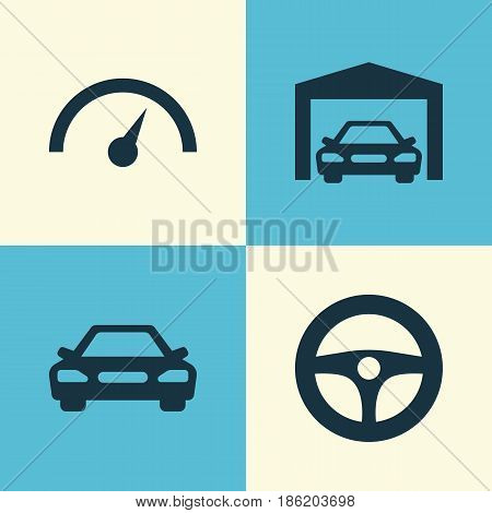Auto Icons Set. Collection Of Chronometer, Drive Control, Repairing And Other Elements. Also Includes Symbols Such As Garage, Car, Speed.