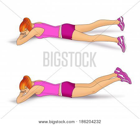 The girl lies face down on the folded hands and performs an exercise to strengthen the muscles of the buttocks: inverted scissors for the legs. Isolated on white background