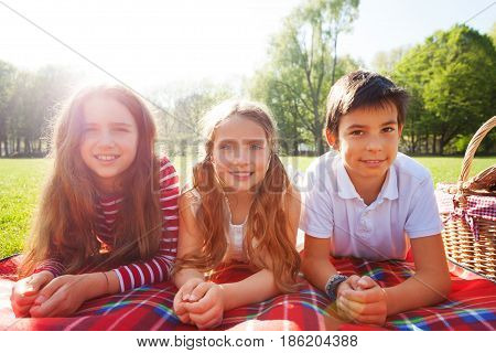 Close-up portrait of three happy friends laying on the picnic blanket in a line next to the basket at sunny day