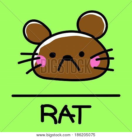 Cute rat,  hand-drawn style, drawing hand,  drawn illustration.