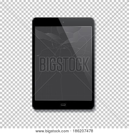Vector realistic broken tablet isolated on transparent background.