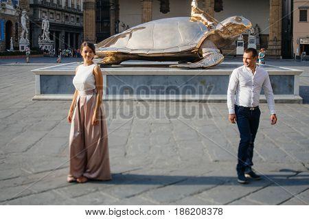 Golden turtle - sculpture