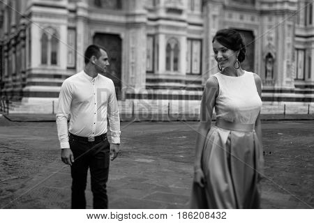 Young Couple In Front of the duomo.