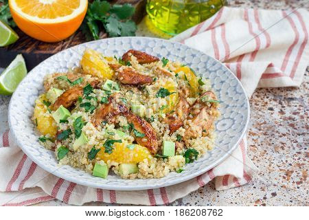 Quinoa orange and chicken salad tabbouleh horizontal copy space