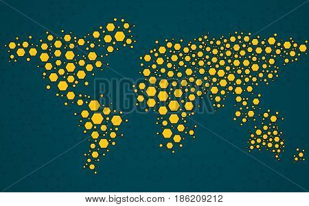 Abstract world map of hexagonal molecular structures. Vector