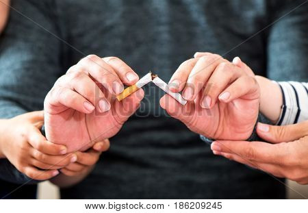 Concept For Quitting Smoking With Support Of Family