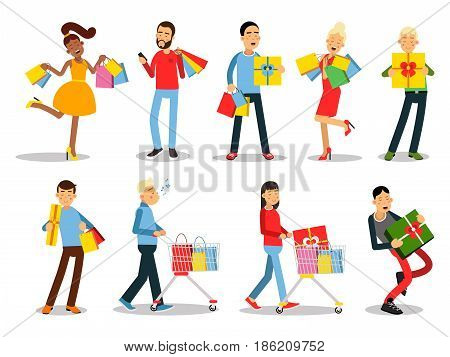 Shopping people vector concepts. Flat design set. Collection of smiling women and man characters with gift boxes, paper bags and trolley with goods. Pleasure of purchase. For sales and discounts