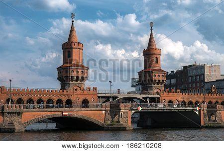 Berlin landmark Oberbaumbrücke (Oberbaum Bridge) in Berlin
